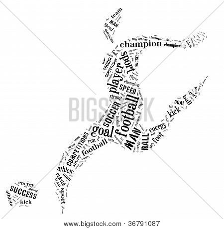 Football Player Pictogram With Black Color Words On White Background