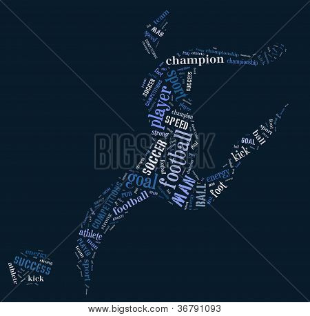 Football Player Pictogram On Blue Background
