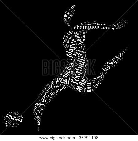 Football Player Pictogram With White Color Words On Black Background