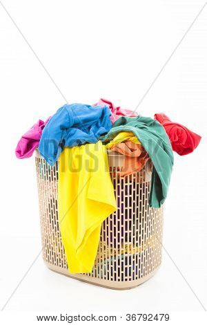 Colorful Clothes In A Laundry Basket