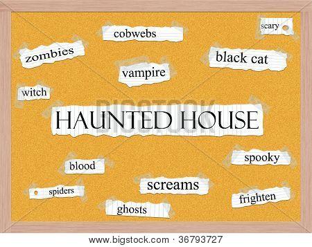 Haunted House Corkboard Word Concept
