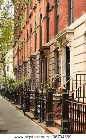 Row Of Apartments In Greenwich Village, Nyc