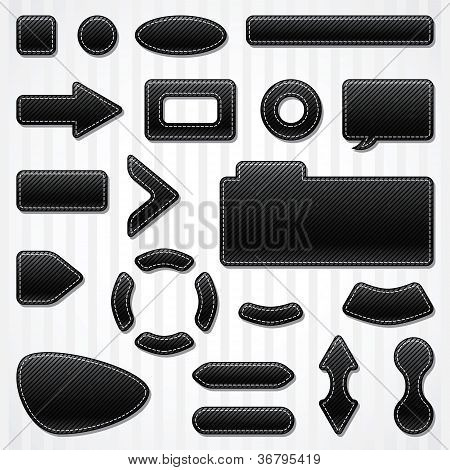 Set of icons, buttons and menus for websites in black.