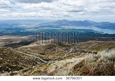 The View Of The Road Down From Tongariro National Park, New Zealand