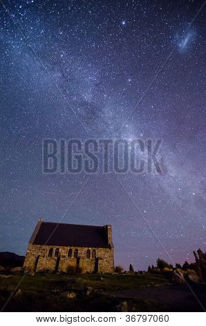 Church Of The Good Shepherd And The Milky Way, Lake Tekapo, New Zealand
