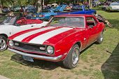 Red White Chevy Camaro 327
