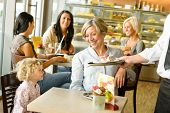 picture of bakeshop  - Grandmother and grandchild waiting cake order cafe dessert waiter plate - JPG