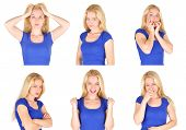 pic of shy woman  - A young woman has many different emotions from happiness - JPG