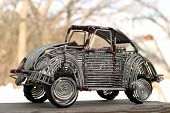 stock photo of beetle car  - vw beetle toy handcrafted from wire - JPG
