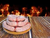foto of creole  - Prepared a Creole sausage dish for barbecue - JPG