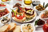 stock photo of antipasto  - Table full of mediterranean appetizers - JPG