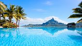 picture of french polynesia  - Beautiful view of Otemanu mountain on Bora Bora island - JPG