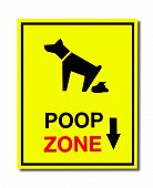 image of pooping  - The Sign of dog poop zone isolated on white background - JPG