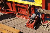 stock photo of sloop  - Small naval cannon on board historical wooden brig - JPG