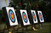 foto of archery  - Used archery target set on position on archery range - JPG