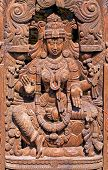 picture of lakshmi  - Wooden Statue of Hindu Goddess Lakshmi Devi - JPG