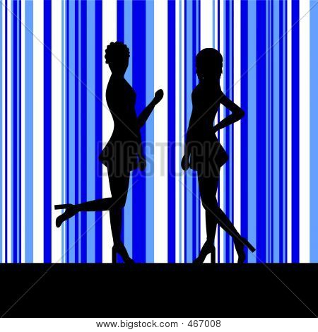 Silhouettes Of Women. silhouette of a two women