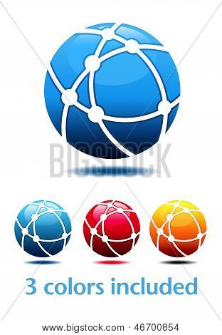 Business Logo - Network Globe Symbols