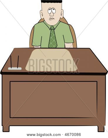 Business Man Sitting At Desk.