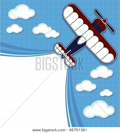 biplane cartoon top view