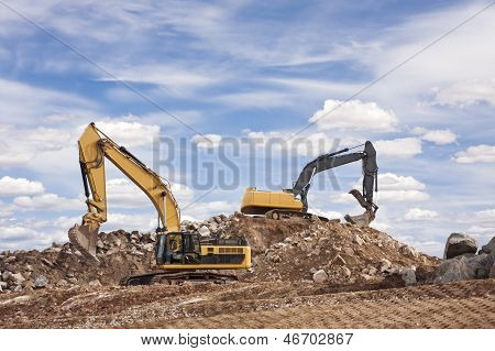 Two Backhoes