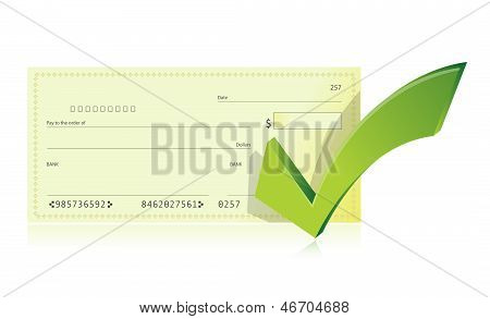Bank Checkbook And Check Mark Illustration
