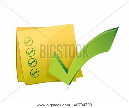 Yellow Check List Post Illustration Design