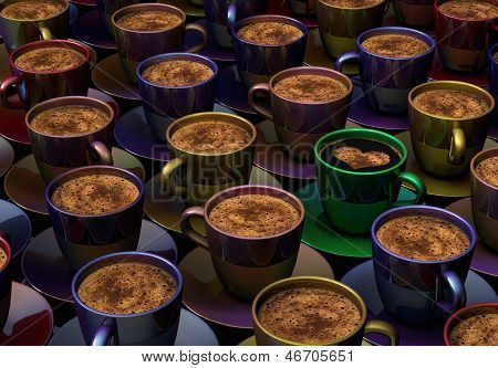 Color Cups With Coffee
