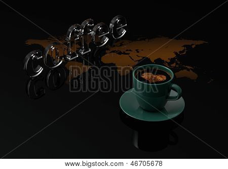 Cup Coffee With Glass Text Coffee On Black Background