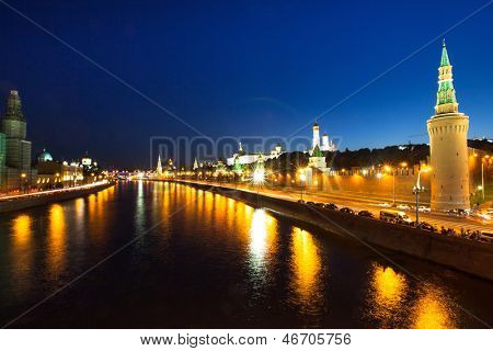 Embankment of the Moskva River near the Kremlin at night time.