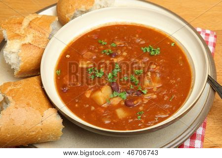 Spicy beef soup with lentils, kidney beans and chilli.