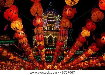 Beautifully Decorated Chinese Temple In Penang During Chinese New Year