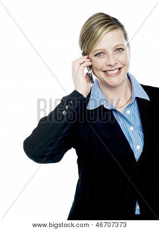 Smiling Businesswoman Communicating