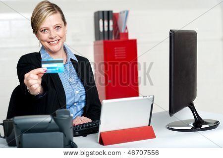 Beautiful Corporate Woman Holding Credit Card