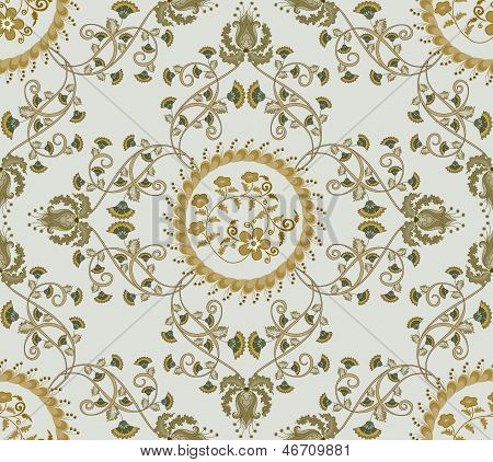 Beige Pattern With Carnations And Bells