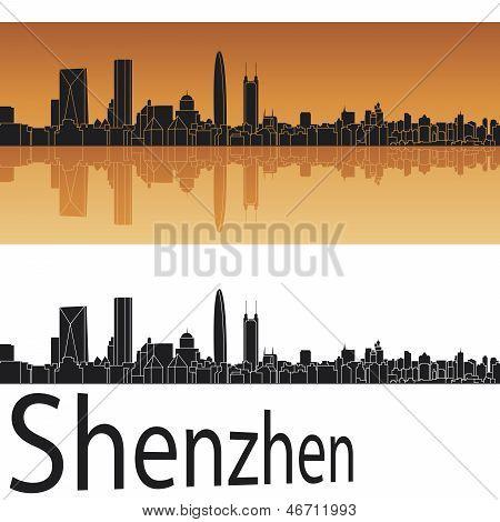 Shenzhen Skyline In Orange Background