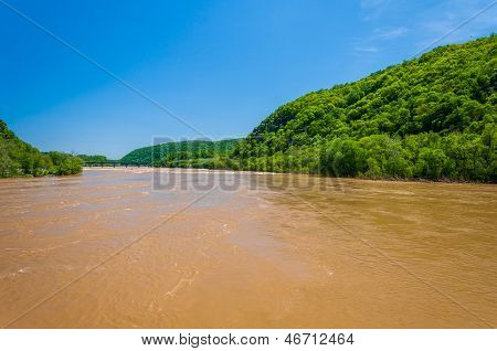 Spring Flooding On The Potomac River In Harper's Ferry, West Virginia.