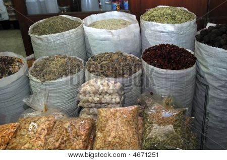 Exotic Spices On An Arab Bazaar