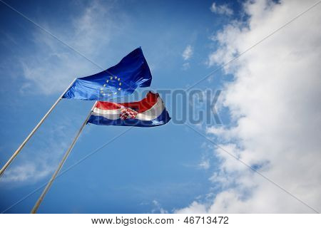 Eu And Croatian Flag