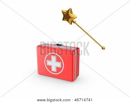 First aid kit and magic wand.