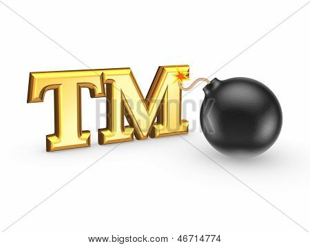 TM symbol and black bomb.