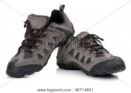 New unbranded hiking shoes or boots isolated on white