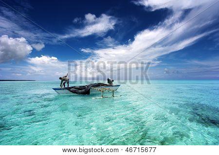 fishing in a tropical lagoon