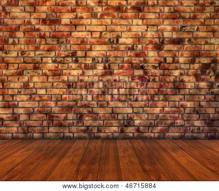 Wooden Floor With Brick Wall