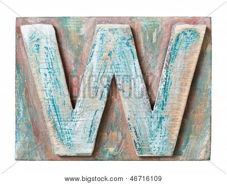 Wooden alphabet block, letter W