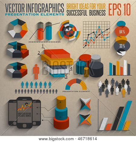 Retro infographics set. Information elements.