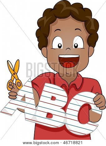 Illustration of Little Kid Boy Cut Out ABC Letters from Paper