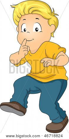 Illustration of a Little Kid Boy Tiptoeing with his Pointing Finger on Lips indicating Silence