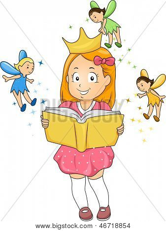 Illustration of a Little Kid Girl wearing a Crown surrounded by Fairies while reading a Fantasy Book