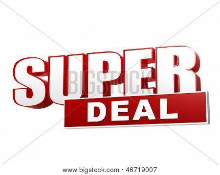 Super Deal Red White Banner - Letters And Block